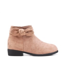 Khaki girl boot with bow