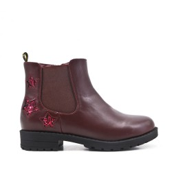 Red wine girl boot with star pattern