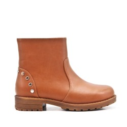 Camel girl's imitation leather bootie