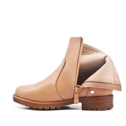 Khaki girl's imitation leather bootie