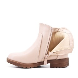 Beige girl's boot in faux leather with elastic panel