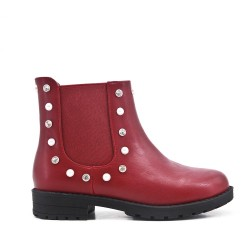Red girl's boot in faux leather with elastic panel