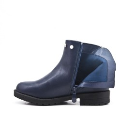 Blue girl's boot in faux leather with elastic panel