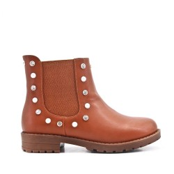 Camel girl's boot in faux leather with elastic panel