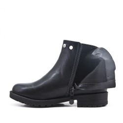 Black girl's boot in faux leather with elastic panel