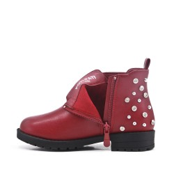 Red girl boot with strasse on the back