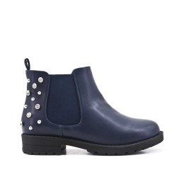 Blue girl boot with strasse on the back