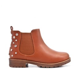 Camel girl boot with strasse on the back