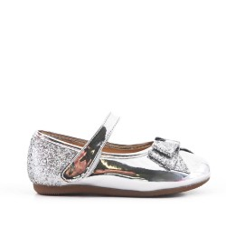 Silver girl ballerina with glitter bow