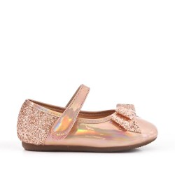 Champagne girl ballerina with glitter bow