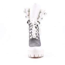 Bottine blanche en simili cuir à lacet avec plateforme