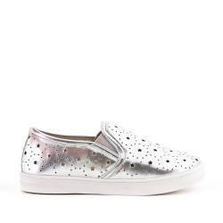 Zapatillas de tenis plata para niñas en piel sintética perforada