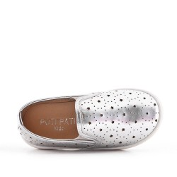 Silvergirls' tennis shoes in perforated imitation leather
