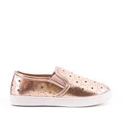 Champagne girls' tennis shoes in perforated imitation leather