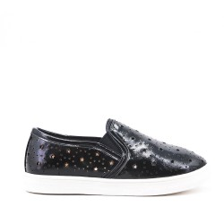 Black girls' tennis shoes in perforated imitation leather