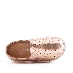 Zapatillas de tenis champagne para niñas en piel sintética perforada