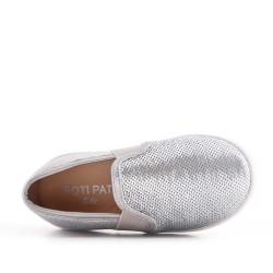 Tenis de niña con lentejuelas plata