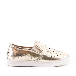 Golden girls' tennis shoes in perforated imitation leather