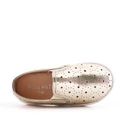 Zapatillas de tenis oro para niñas en piel sintética perforada