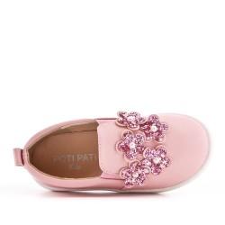 Tenis niña rosa decorada con flores