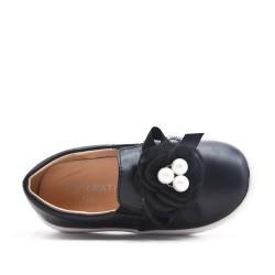 Tenis niña negra decorada con flores