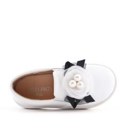 Tenis niña blanco decorada con flores