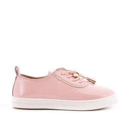 Tennis fille rose en simili cuir