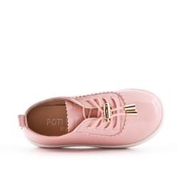 Tenis de niña rosa en cuero sintético