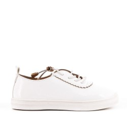 Tennis fille blanche en simili cuir