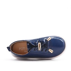 Tennis fille bleu en simili cuir