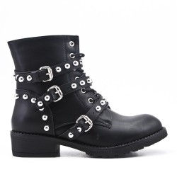 Black imitation leather ankle boot with pearl strap
