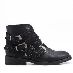 Black imitation leather ankle boot with rhinestone trim