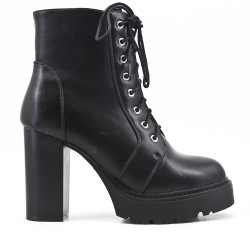 Black imitation leather boot with platform