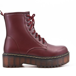 Red wine imitation leather ankle boot with studs