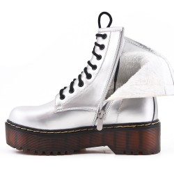 Silver imitation leather ankle boot with studs