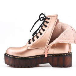 Champagne imitation leather ankle boot with studs