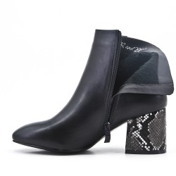 Black imitation leather ankle boot with printed heel