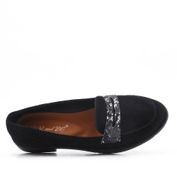 Moccasin in black suede leather