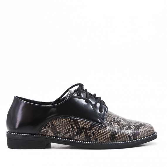 Derby in faux leather with snake print