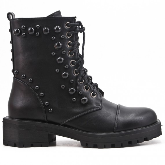 Black imitation leather ankle boot with pearls