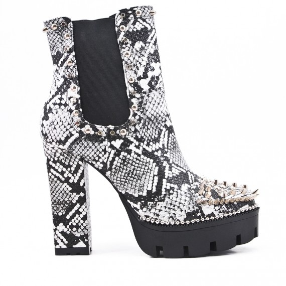 Snake printed ankle boot with studs and heels