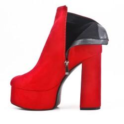 Botines de ante rojo con tacón plataforma