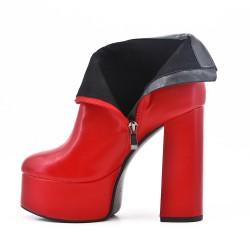 Botines rojos de piel artificial con plataforma