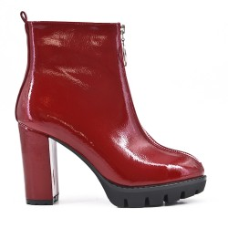 Red patent leather ankle boot