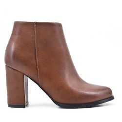 Khaki ankle boot in faux leather with heel