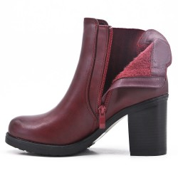 Red ankle boot in faux leather with heel