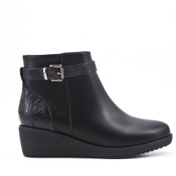 Black imitation leather ankle boot with small wedge