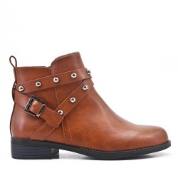 Camel imitation leather ankle boot with pearl trim