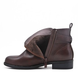 Coffee imitation leather ankle boot with pearl trim
