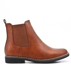 Camel ankle boot in elasticated leatherette